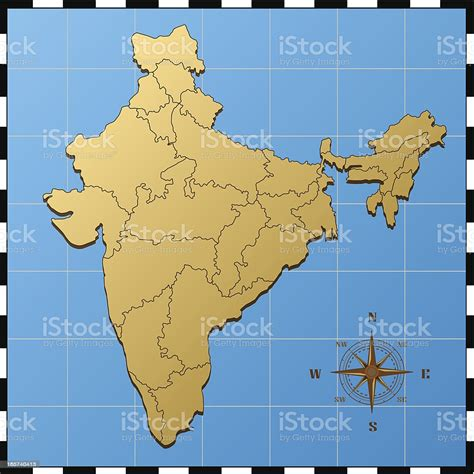 India Map With Compass Rose Stock Illustration - Download