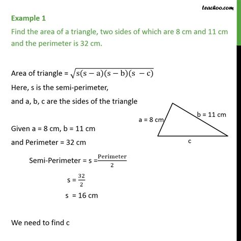 Example 1 - Find area of triangle, two sides are 8 cm