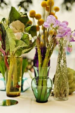 Yellow and Brown Utah LDS Wedding Vegetable Centerpieces