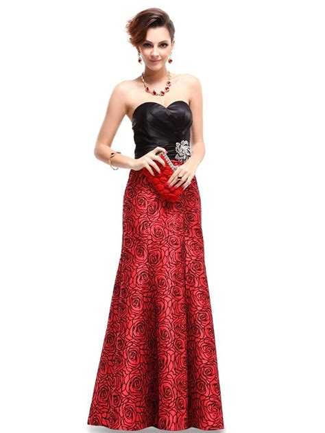Strapless Black Red Floral Printed Ruffles Evening Gowns