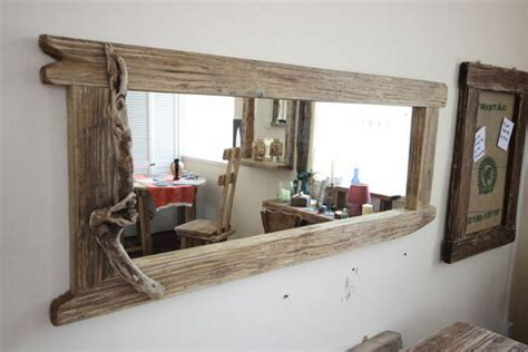 Large Distressed Wooden Framed Mirror - DRIFTWOOD INTERIORS