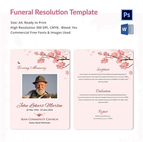 Funeral Resolution Template - 5 Word, PSD Format Download