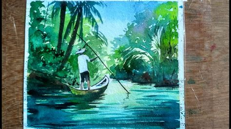 Watercolor Painting : Fishing Boats on River | Paint with
