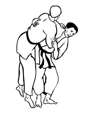 Judo Fight coloring page | Super Coloring