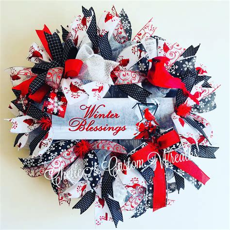 Winter blessings cardinal wreath with bows door decoration