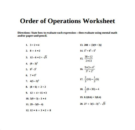 Sample Order of Operations Worksheet - 14+ Free Documents